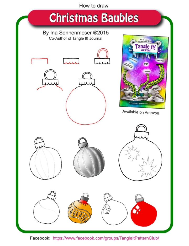 How to draw Christmas Baubles