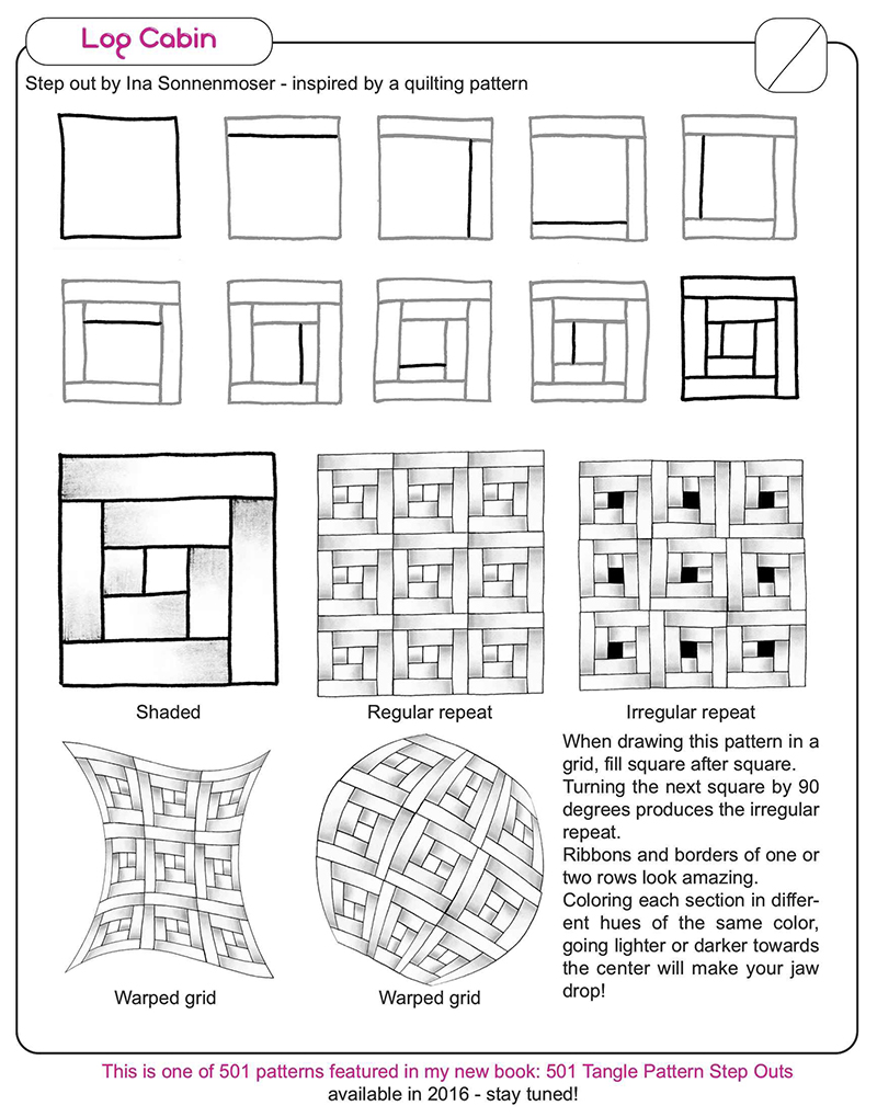 Ina 39 s tangles page 5 zentangle patterns artwork and more for How to draw a log cabin step by step