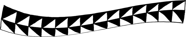 Pattern in warped ribbon form